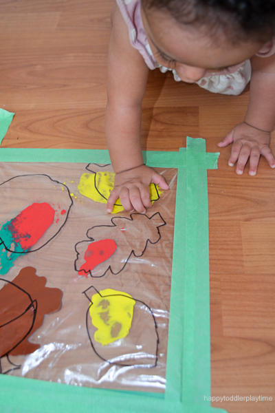 Mess free fall painting for babies and toddlers