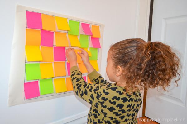 Post-it Memory Game for preschoolers & kindergartners
