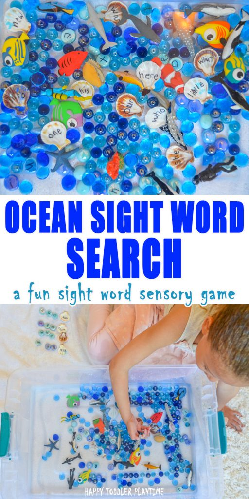 Ocean Sight Word Search & Sensory Bin for Preschoolers and Kindergartners.