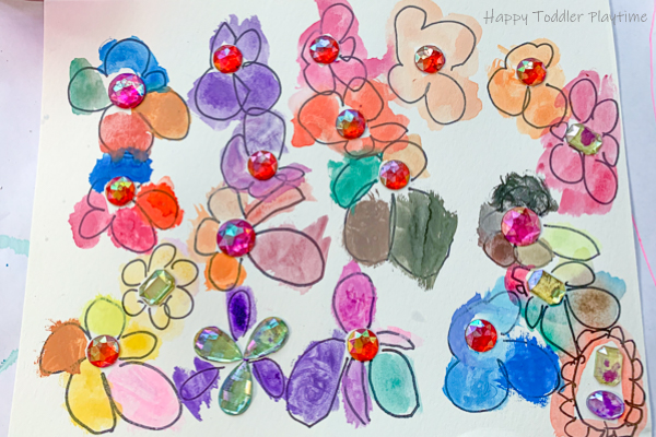 Gems and Watercolours Flowers Kids art project