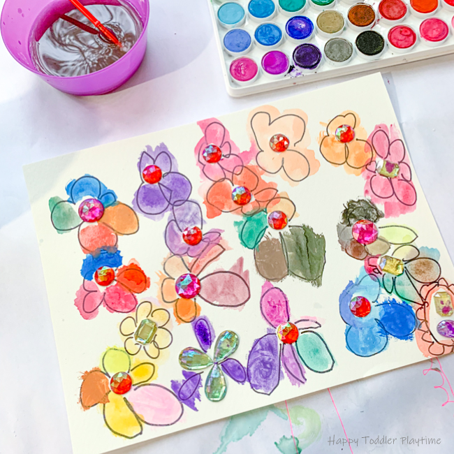 Gems and Watercolours Flowers for kindergartners