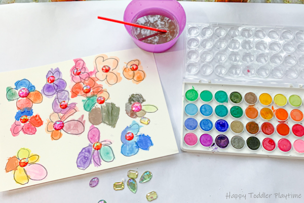 Gems and Watercolours Flowers art for kids