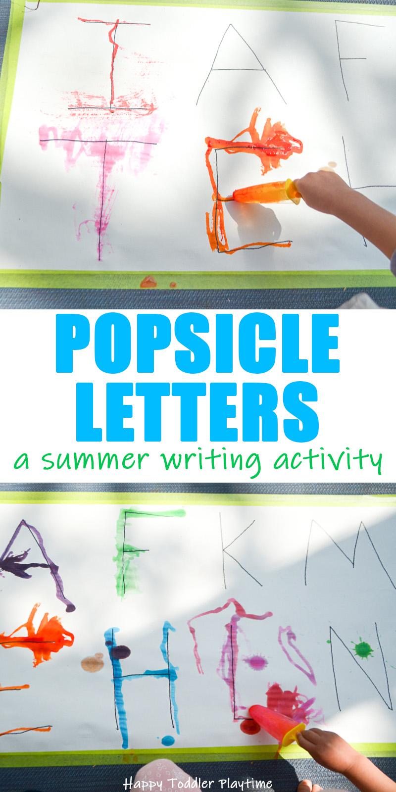 Popsicle letters preschooler activity