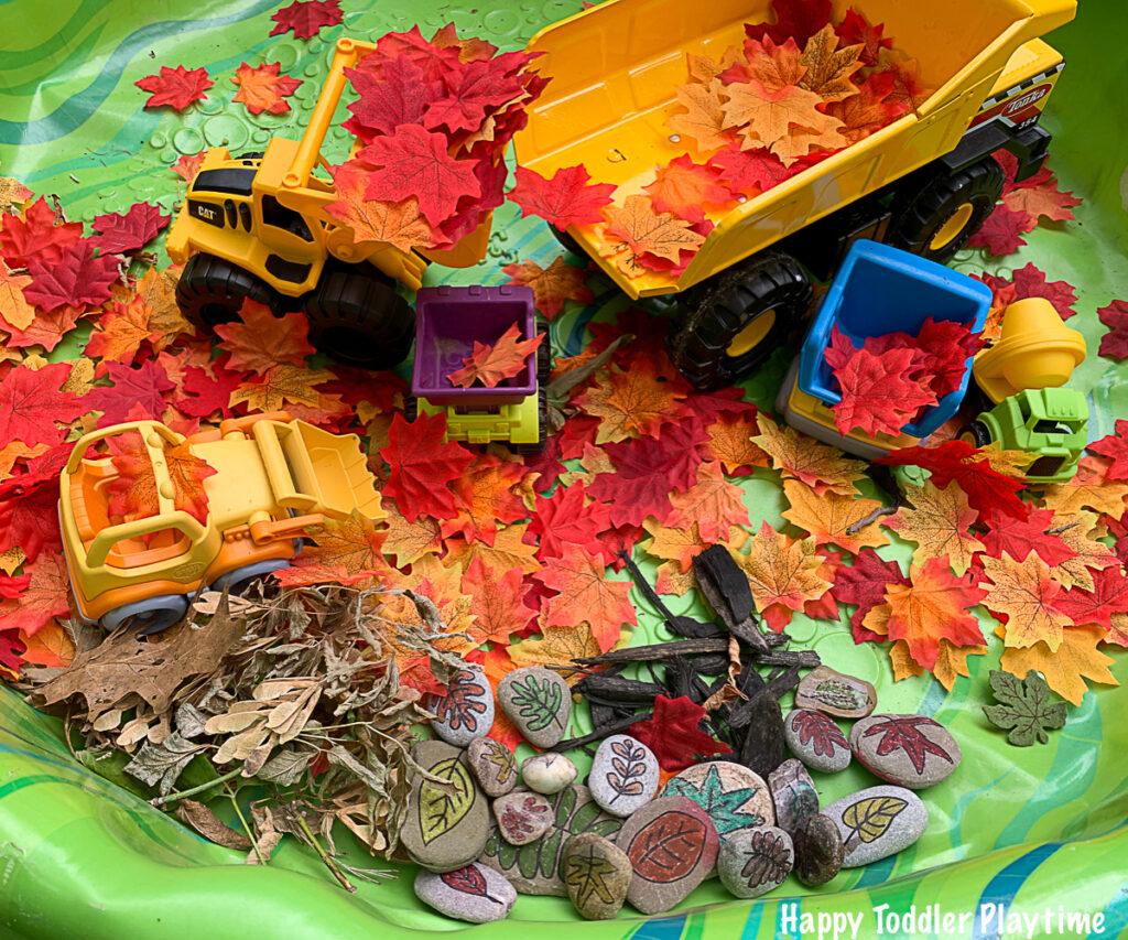 a fun fall sensory bin for toddlers and preschoolers