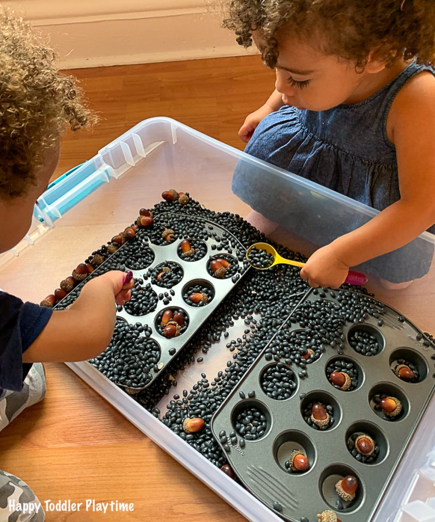BURY The Acorns an easy fall activity for toddlers