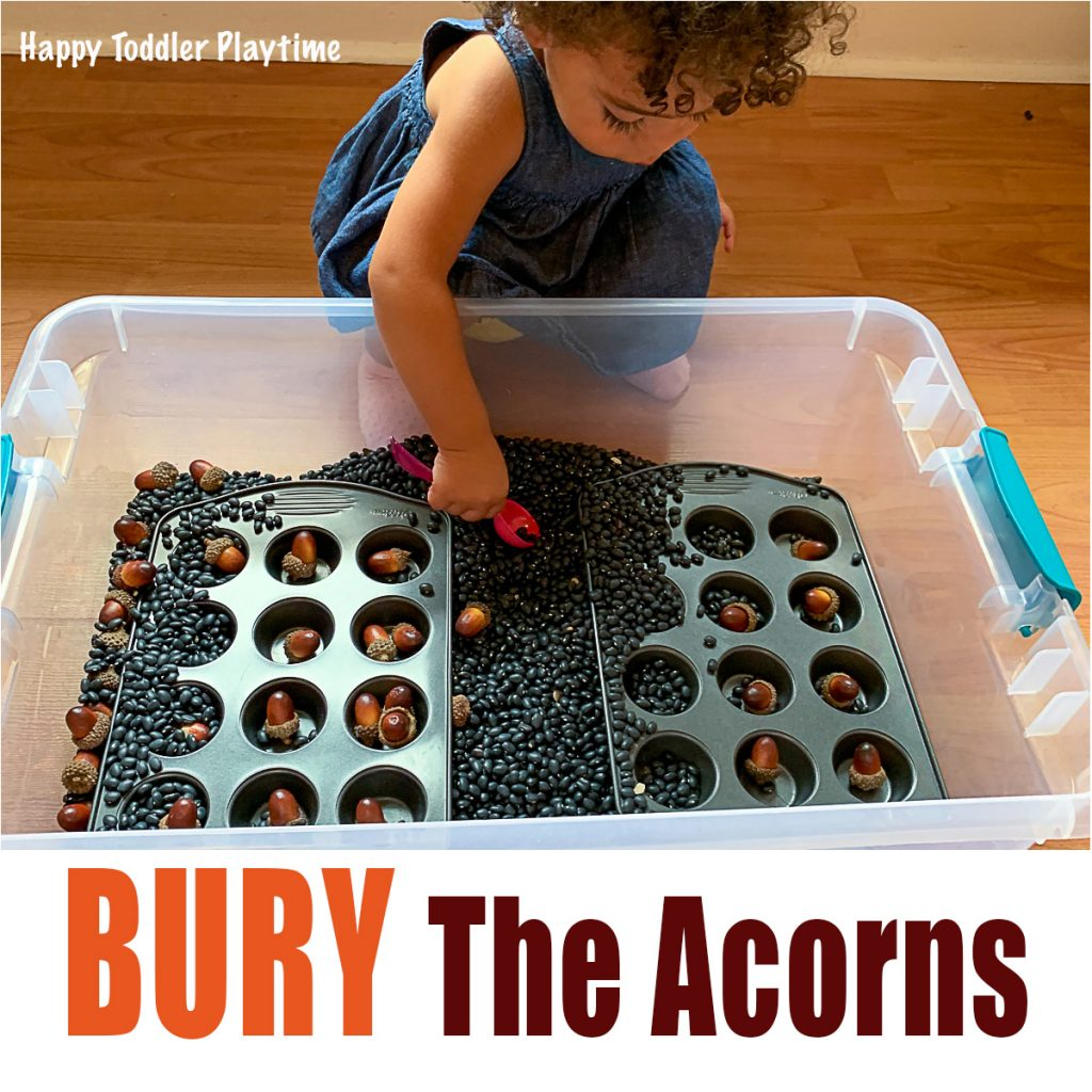 Toddler burying acorns for fall activity
