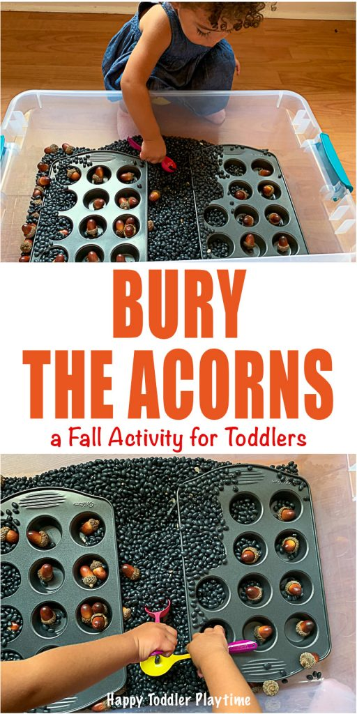 BURY The Acorns fall scooping game  for toddlers