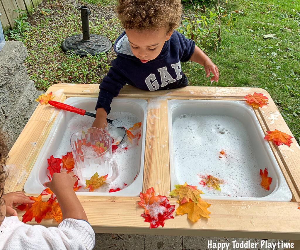 Autumn bubble foam sensory bin