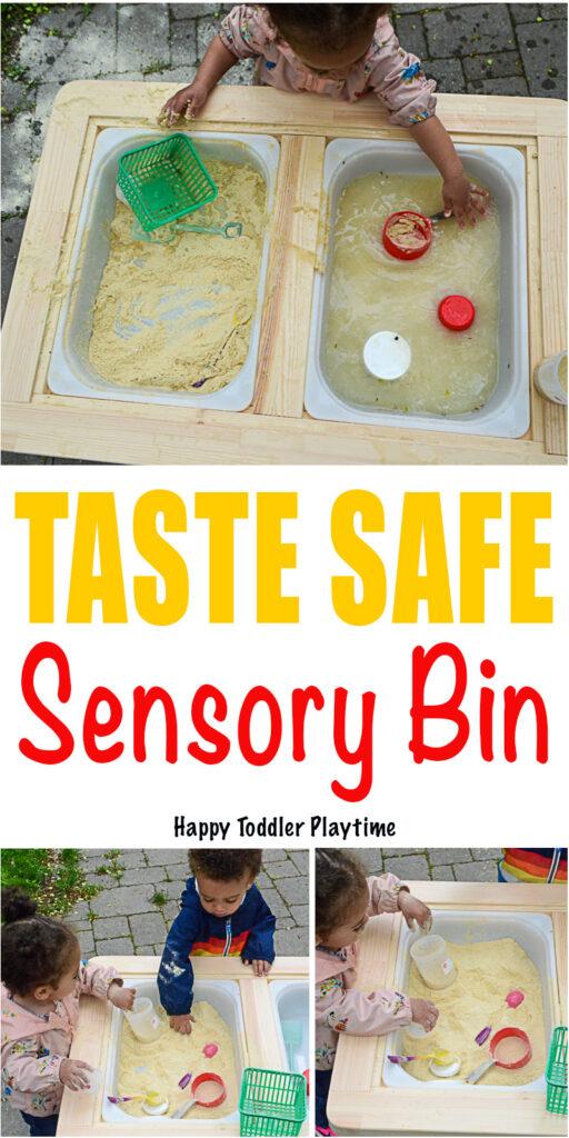 A taste safe sensory bin for babies and toddlers