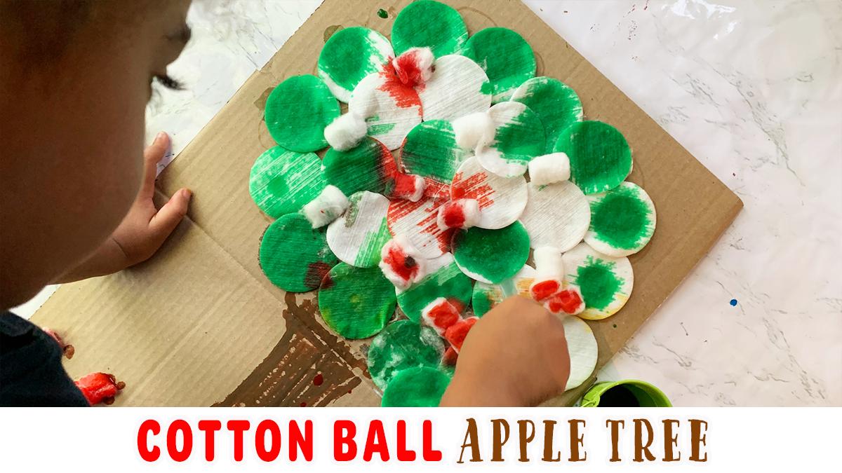 Cotton Ball Apple Tree Craft